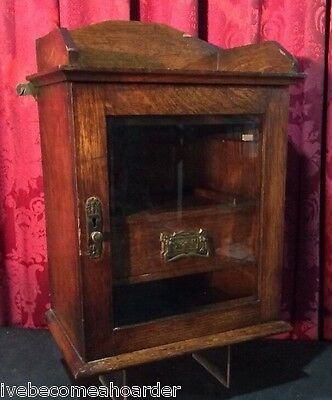 Antique Victorian Oak Wall Hanging Pipe Tobacco Storage Display Cabinet