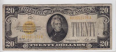 United States 1928 $20 Gold Certificate Note A03561478A