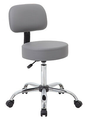 Commercial Grade Gray Vinyl Medical Dental Tattoo Salon Stools Chairs With Back
