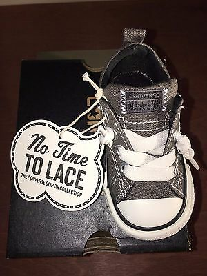 eefee0c351a501 CONVERSE All Stars NO TIME to LACE Slip On Infant Baby Shoes Charcoal 5 NEW