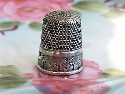 Simon Bros. Antique Sterling Thimble Etched Floral Flowers Garland