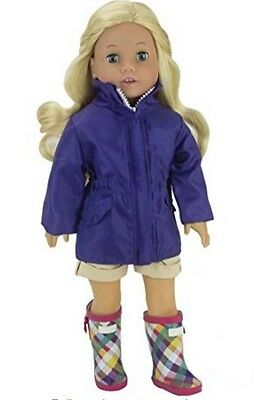 Plaid Wellies and Rain Coat for 18 inch American Girl or Baby Doll Clothes