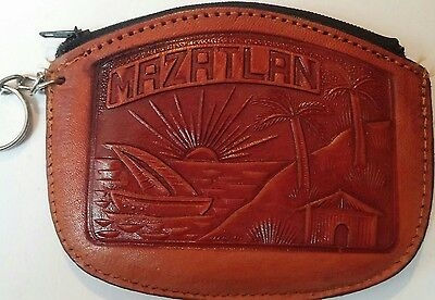 Vintage tooled leather zip coin purse key chain pouch MAZATLAN Mexico