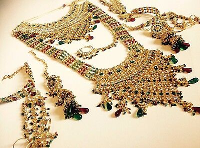 Indian Wedding Designer Gold Plated Red Green Bridal Kundan Necklace Set Jewelry
