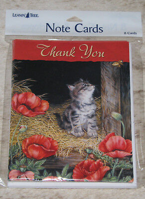 "LEANIN TREE Kitten w/ Poppies ""Thank You""~Pack of 8 Notecards#35876~Blank Inside"