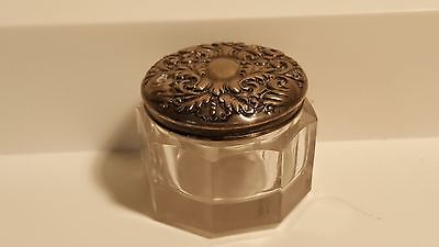 Sterling silver lidded crystal Rouge Pot