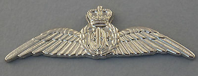 Royal Australian Air Force Pilots Wings Bright Nickel Plated With 3 Pins 88X27Mm