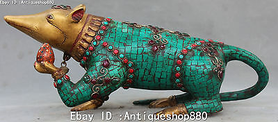 15'' Turquoise Coral Gild Inlay Jewel Zodiac Mouse Rat Mice Rats Animal Statue