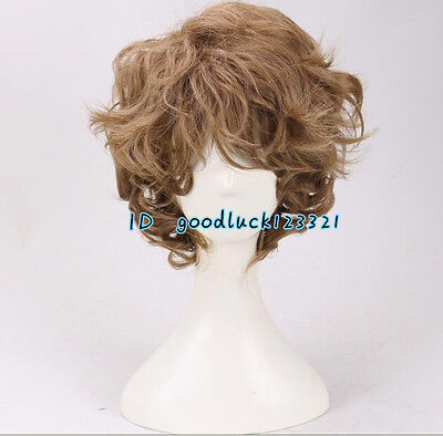 Hobbit Frodo Bilbo Baggins Short curly brown cosplay wig +a wig cap