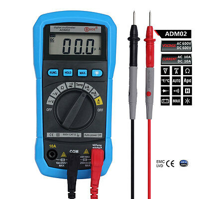 BSIDE ADM02 Digital Multimeter AC DC Voltage Resistance Capacitance Temp Meter