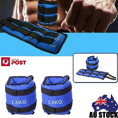 2x 1.5kg Ankle Weights Home GYM Weights Wrist FitnessTraining Running 3kg TT