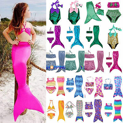 Kids Girls Swimwear Swimmable Mermaid Tail Bikini Set Costume Beachwear Swimming
