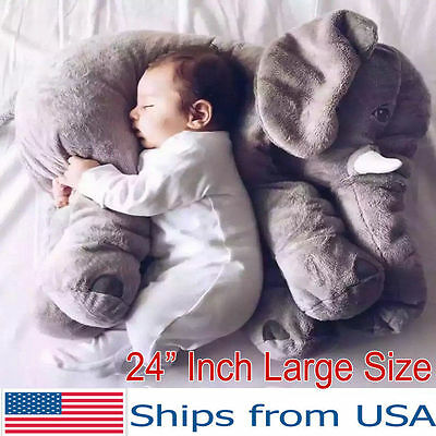 Big Elephant Pillow Children Soft Plush Toy Doll Baby Kids Nose Cushion Lumbar
