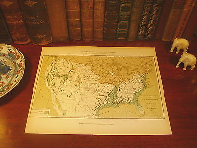 Original 1893 Antique Geological Survey Map US United States of America USA