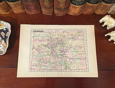 Original 1894 Antique Map COLORADO Lakewood Boulder Aurora Fort Collins Arvada