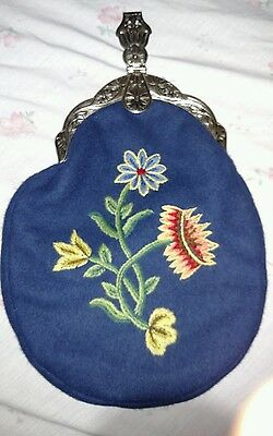 AUTHENTIC VINTAGE HAND EMBROIDERED NORWEGIAN BUNAD PURSE  W/ Purity stamp 60Gram