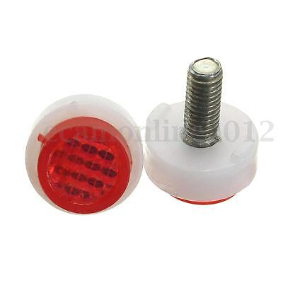 Car Motorcycle ATV License Plate Frame Tag Bolt Red Reflector Screw Cap Fastener