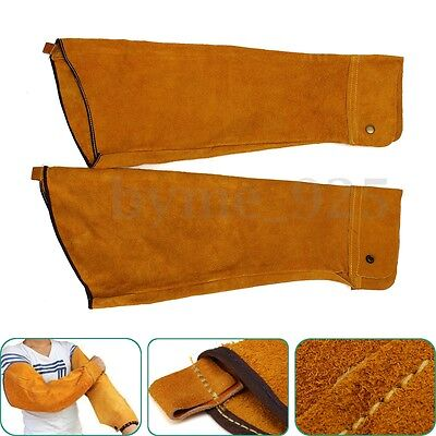 60cm long One Pair Welder's Leather Welding Sleeves Protective Splatter Split