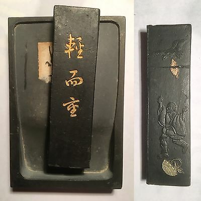 Antique Early 20th Century Chinese Japanese Inkstone With Inc Stick