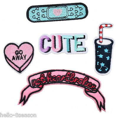 1Set/5PCs Mixed Heart Letter Coke Cartoon Patch Iron On Garment Accessories