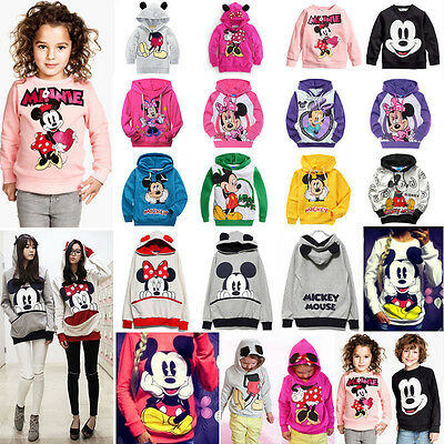 Womens Kids Children Mickey Mouse Hoodie Sweatshirt Tops Coat Pullover Outwear