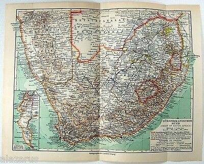 Original 1924 German Map of The Union of South Africa by Meyers