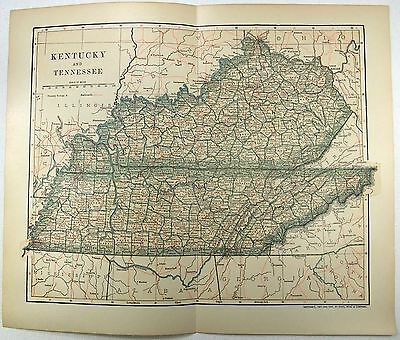 Original 1903 Dated Map of Tennessee & Kentucky by Dodd Mead & Company