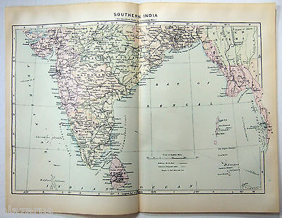 Original 1902 Map of Southern India
