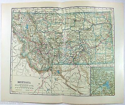 Original 1923 Map of Montana by L. L Poates