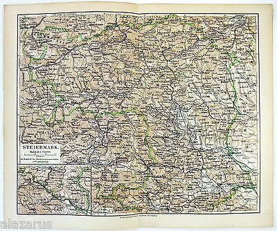 Original 1900 German Map of Steiermark, Austria by Meyers