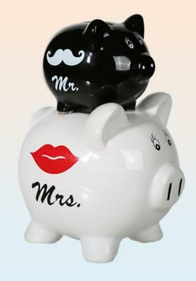 Spardose Mr. & Mrs. Sparschwein Urlaubskasse 20 cm ,Money Box Bank ,Neu