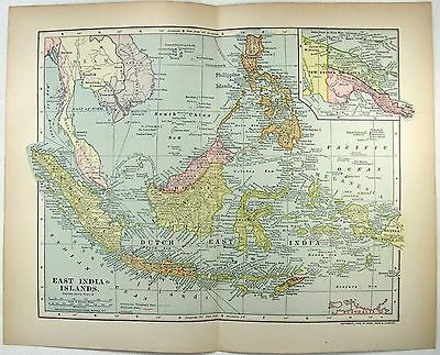 Original 1903 Map of The East India Islands
