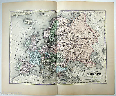 Original 1896 Copper-Plate Map of Europe by A. J. Johnson