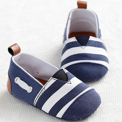 Pram Newborn Baby Kids Infant First Walkers Striped Classic Boys Shoes Loafers