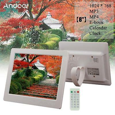 Andoer Wide Screen High Resolution Digital Photo Picture Frame White US Hot W4H3