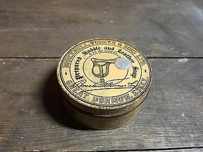 vintage antique brecknell turner & sons prepared saddle leather soap tin box