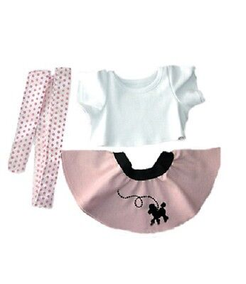 "50s Girl Outfit skirt t-shirt scarf teddy outfit clothes fits 15"" Build a Bear"