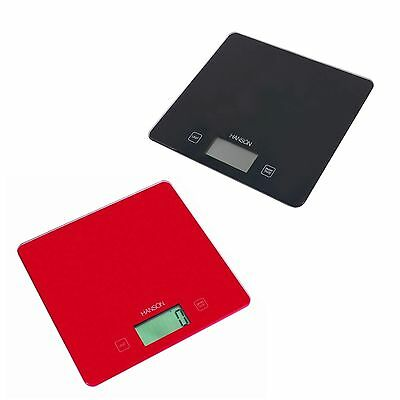Hanson H1040 Electronic Kitchen Scale Slim Glass Max Weight 5kg Black or Red