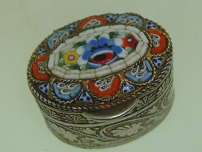 Beautiful Vintage Italy Micro Mosaic Gold Washed Fancy Pill Box!