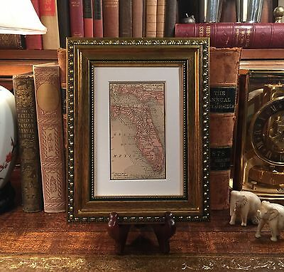 Framed Original 1889 Antique Map FLORIDA Jacksonville Ocala Pensacola Key West