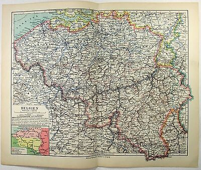 Original 1926 German Map of Belgium by Meyers