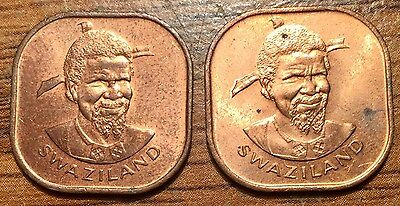 1975 Swaziland 2 Cents Sobhuza II Coin Set - Condition Uncirculated+