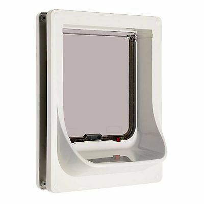 Cat Flap Electromagnetic Door White Magnetic Pet Lockable Cats Doors Dogs Large