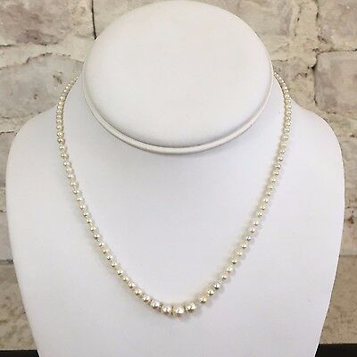 14KWG  Victorian Natural Graduated Pearl Necklace with Emerald and Diamond Clasp