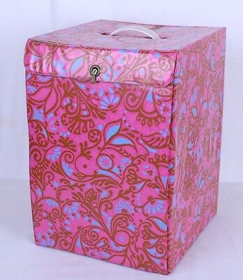 VTG Pink Paisley Wig Carrier Box Tote With Handle Retro Mod Funky Hippy Vinyl