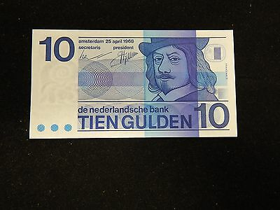 1968 Netherlands 10 Gulden UNC