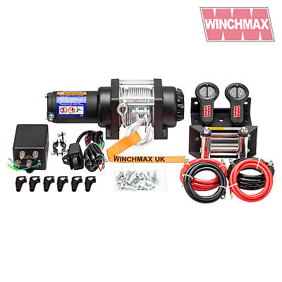 WINCHMAX 12V  MIL SPEC ATV BOAT TRAILER 3000 lb WINCH - Stainless Steel - Marine