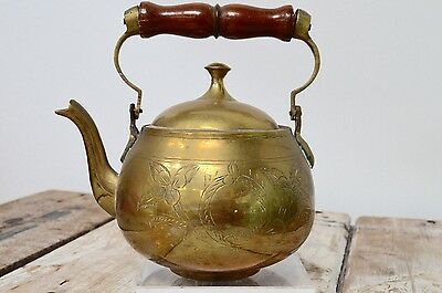 Vintage Indian Etched Brass Small Teapot Kettle Swing Wooden Handle Decorative