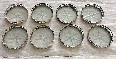 Webster Sterling Silver Set of 8 Cut Glass Coasters with Sterling Pierced Rims