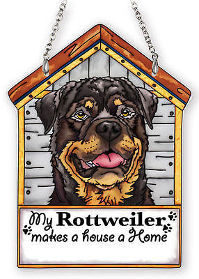 """My Rottweiler Sun Catcher Makes House A Home Dog House AMIA Brown 7"""" High Brown"""